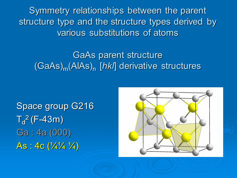 Symmetry relationships between the parent structure type and the structure types derived by various substitutions of atoms GaAs parent structure (GaAs)m(AlAs)n [hkl] derivative structures